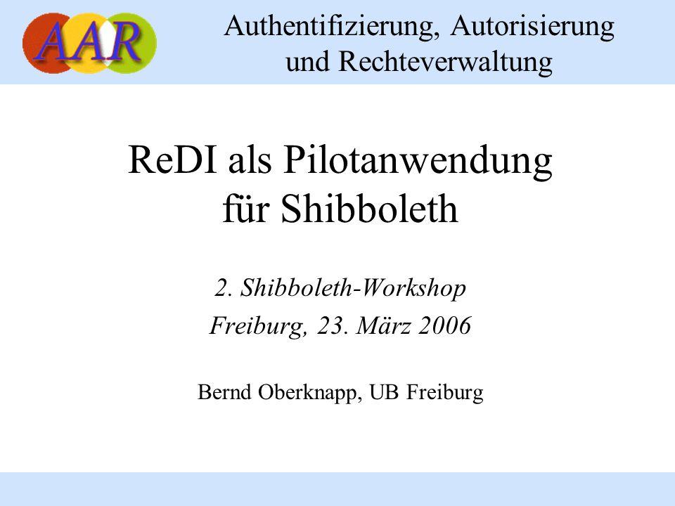 ReDI als Pilotanwendung für Shibboleth
