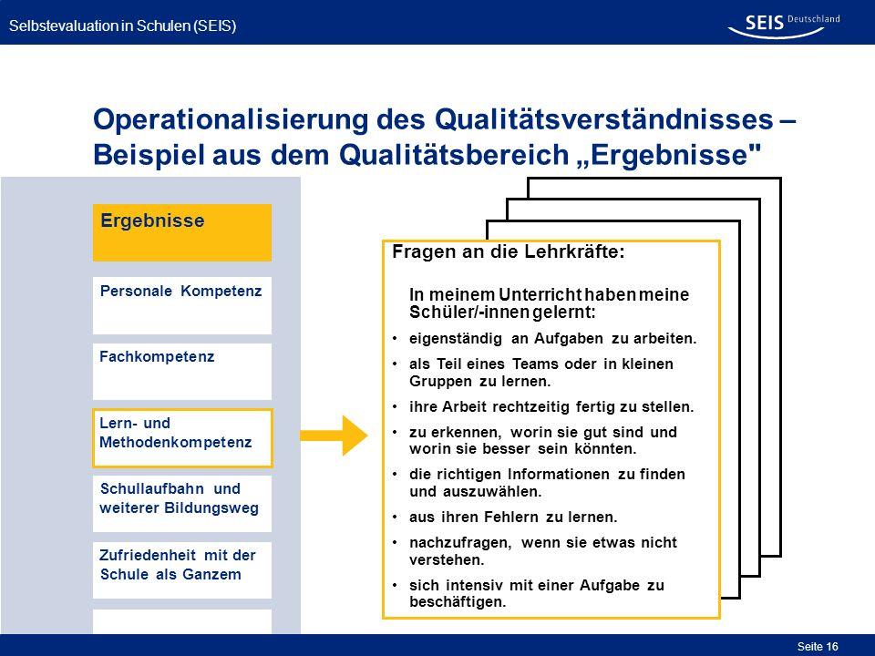 """Operationalisierung des Qualitätsverständnisses – Beispiel aus dem Qualitätsbereich """"Ergebnisse"""