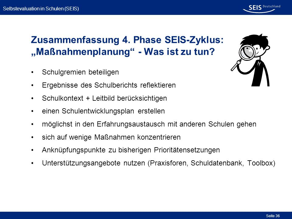 """Zusammenfassung 4. Phase SEIS-Zyklus: """"Maßnahmenplanung - Was ist zu tun"""
