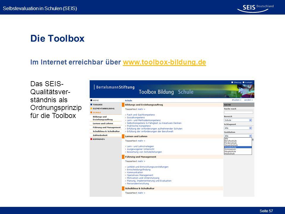 Die Toolbox Im Internet erreichbar über www.toolbox-bildung.de