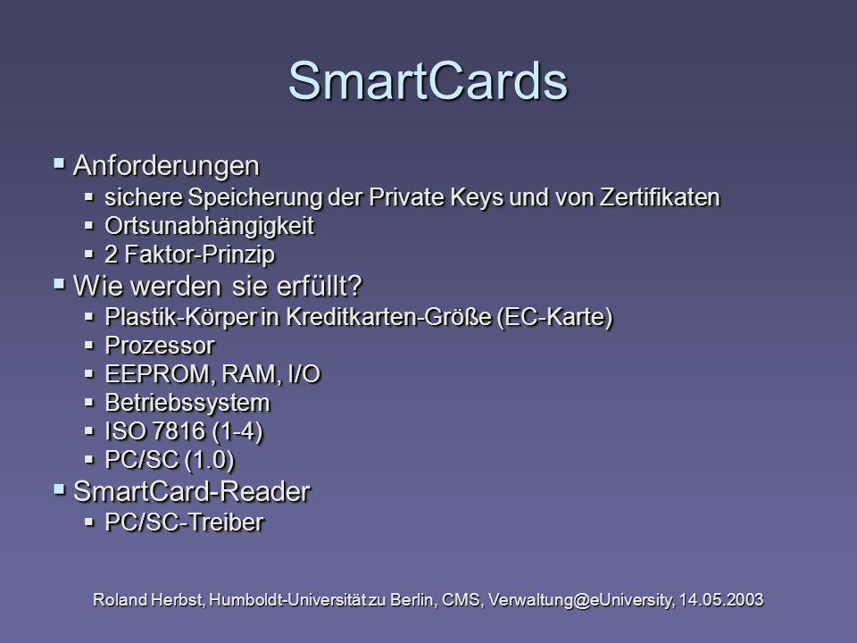 SmartCards Anforderungen Wie werden sie erfüllt SmartCard-Reader