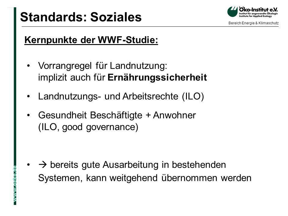 Standards: Soziales Kernpunkte der WWF-Studie: