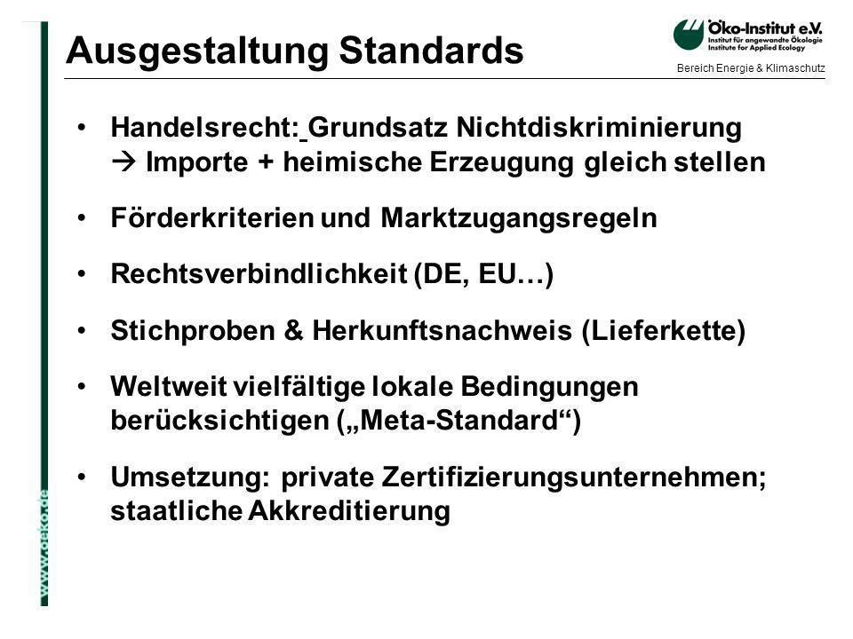 Ausgestaltung Standards