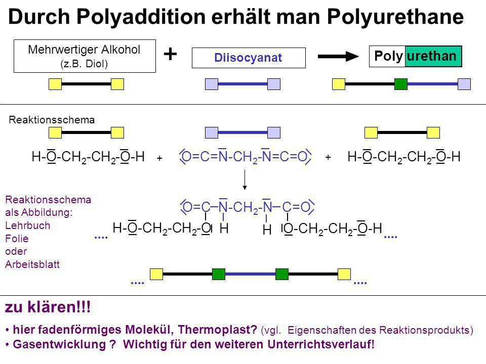 Durch Polyaddition erhält man Polyurethane