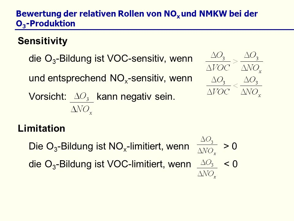 Bewertung der relativen Rollen von NOx und NMKW bei der O3-Produktion