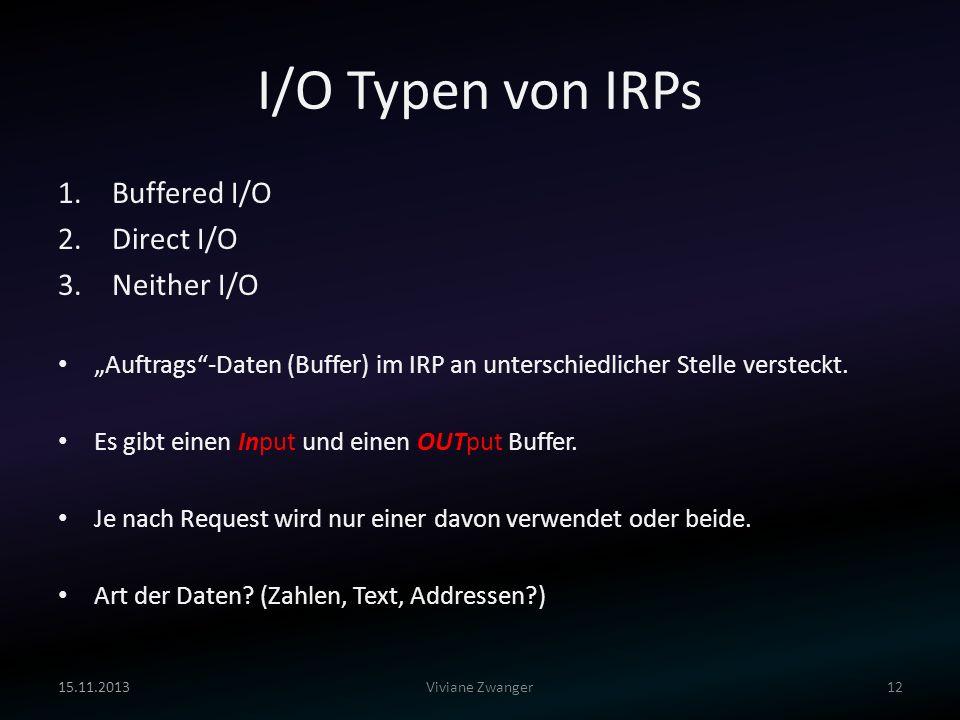 I/O Typen von IRPs Buffered I/O Direct I/O Neither I/O