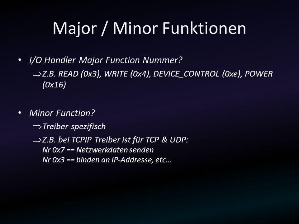 Major / Minor Funktionen