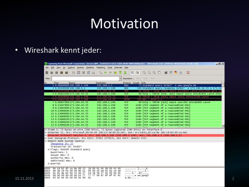 Motivation Wireshark kennt jeder: Viviane Zwanger