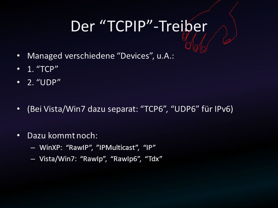 Der TCPIP -Treiber Managed verschiedene Devices , u.A.: 1. TCP
