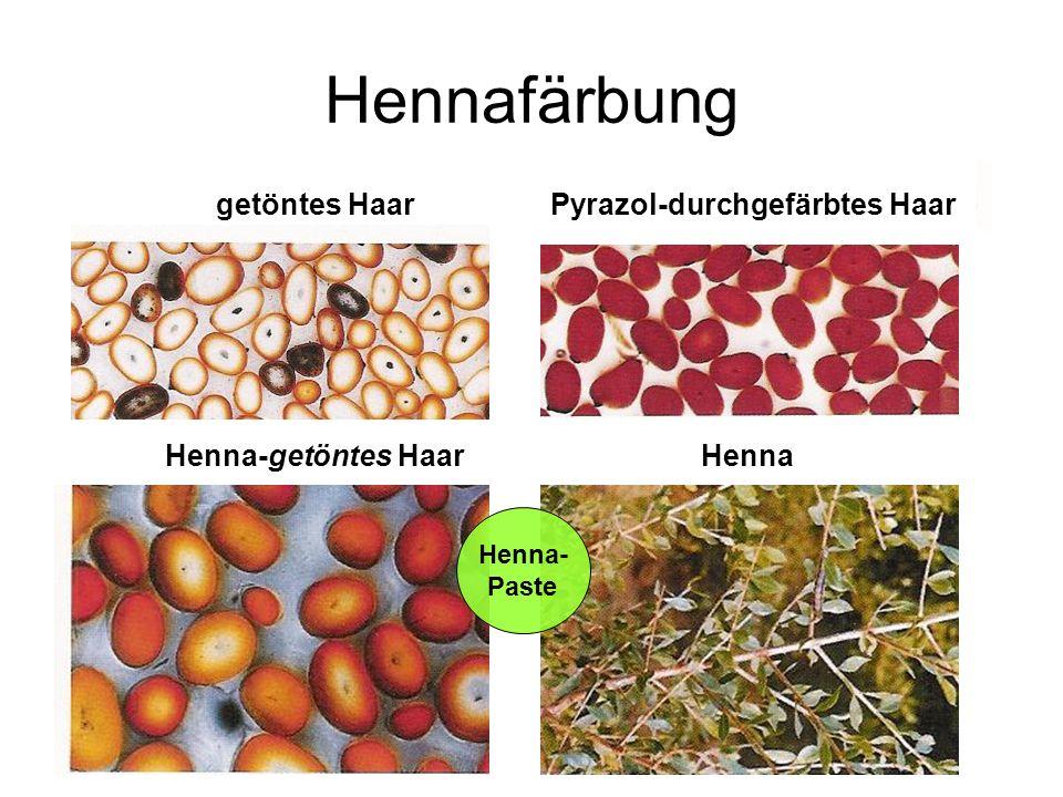 Hennafärbung getöntes Haar Pyrazol-durchgefärbtes Haar