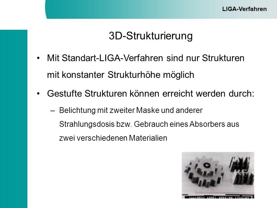 LIGA-Verfahren 3D-Strukturierung. Mit Standart-LIGA-Verfahren sind nur Strukturen mit konstanter Strukturhöhe möglich.