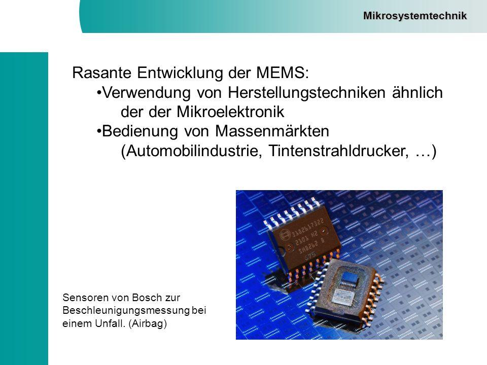 Rasante Entwicklung der MEMS: