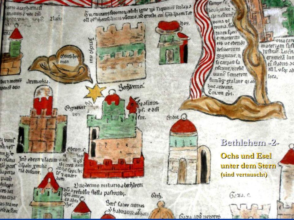 Bethlehem -2- Ochs und Esel unter dem Stern (sind vertauscht)