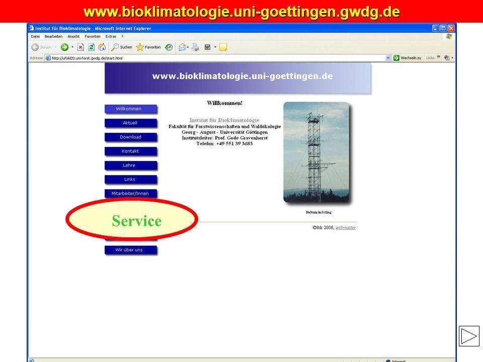 MANUSKRIPT www.bioklimatologie.uni-goettingen.gwdg.de Service