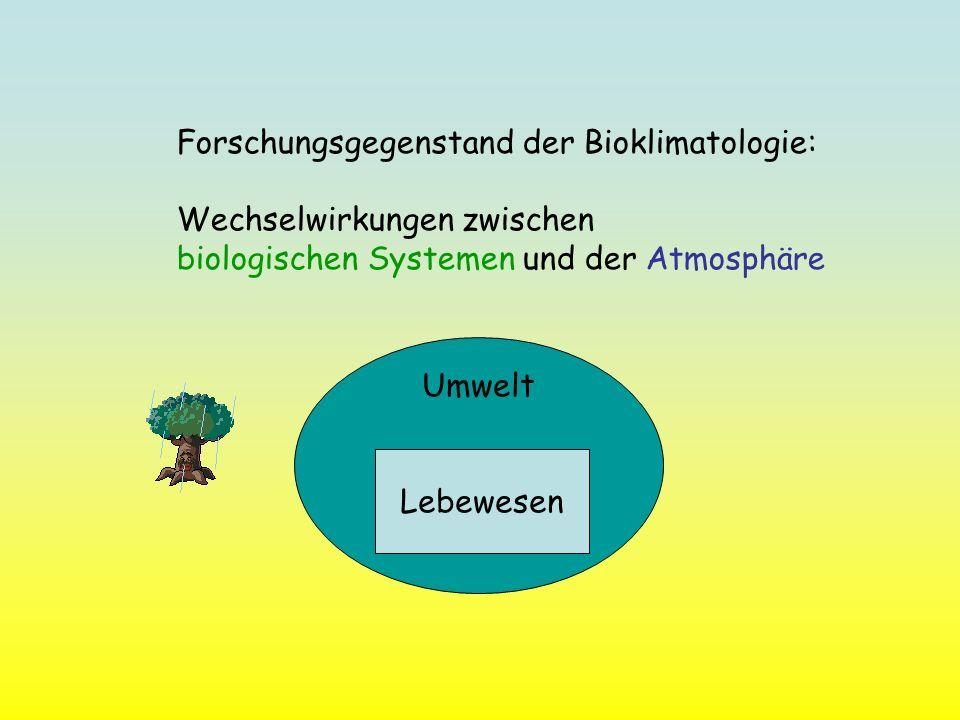 Forschungsgegenstand der Bioklimatologie: