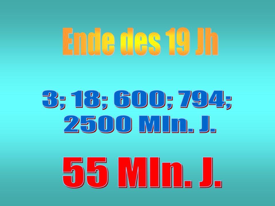 Ende des 19 Jh 3; 18; 600; 794; 2500 Mln. J. 55 Mln. J.