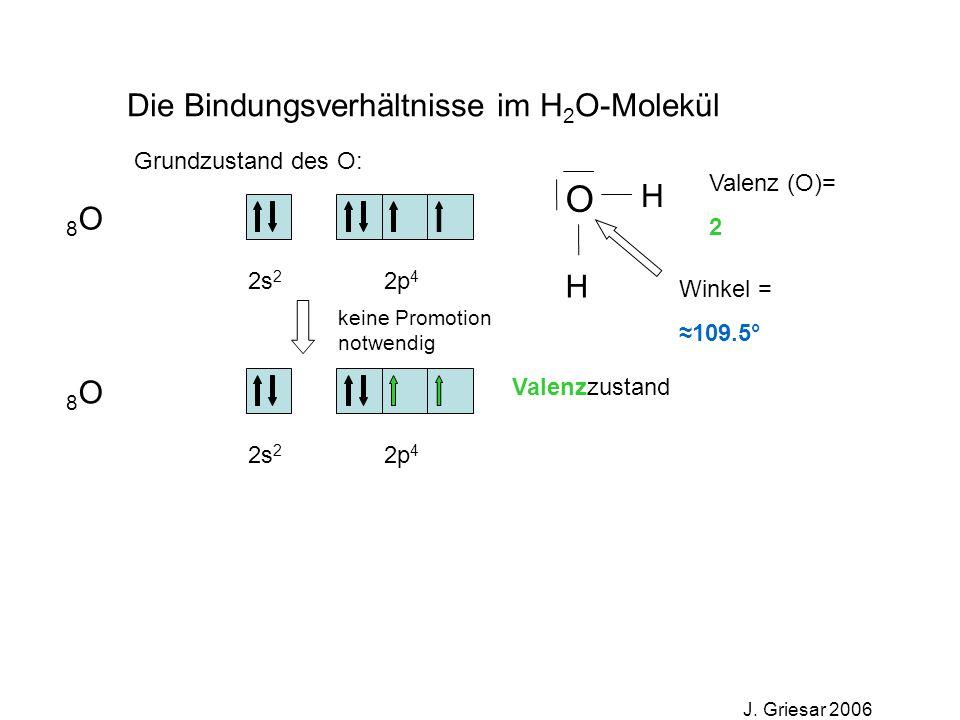 O Die Bindungsverhältnisse im H2O-Molekül H 8O 8O Grundzustand des O: