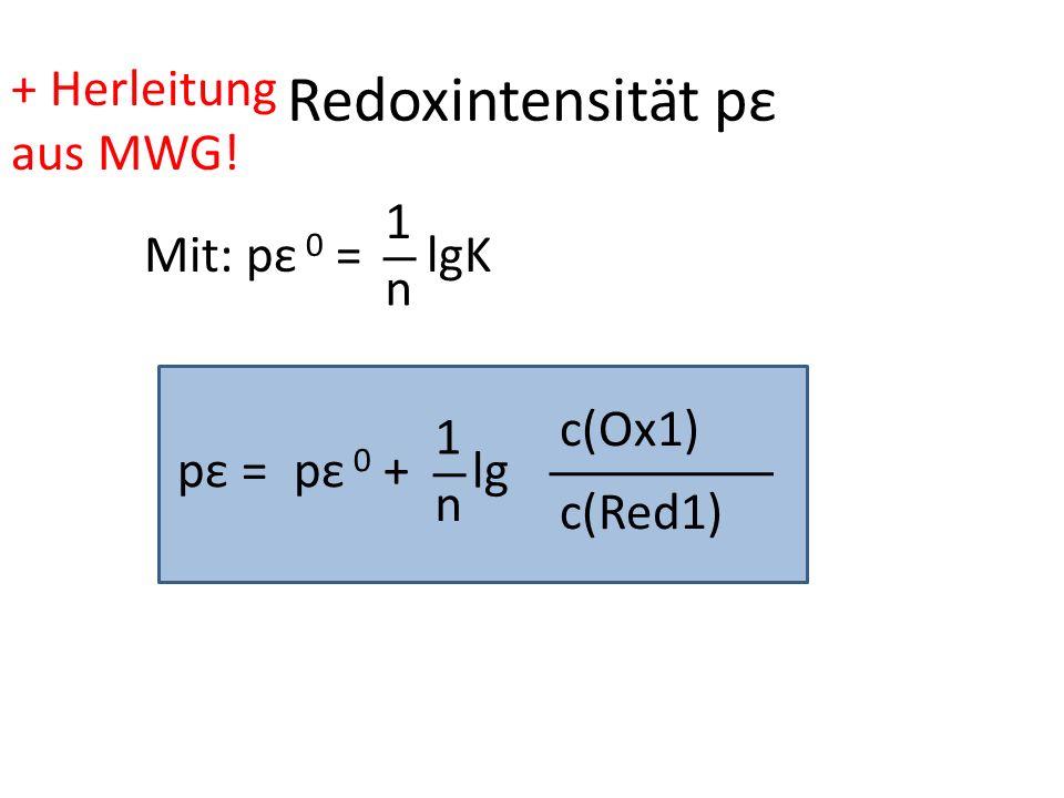 Redoxintensität pε + Herleitung aus MWG! 1 Mit: pε 0 = lgK n c(Ox1) 1