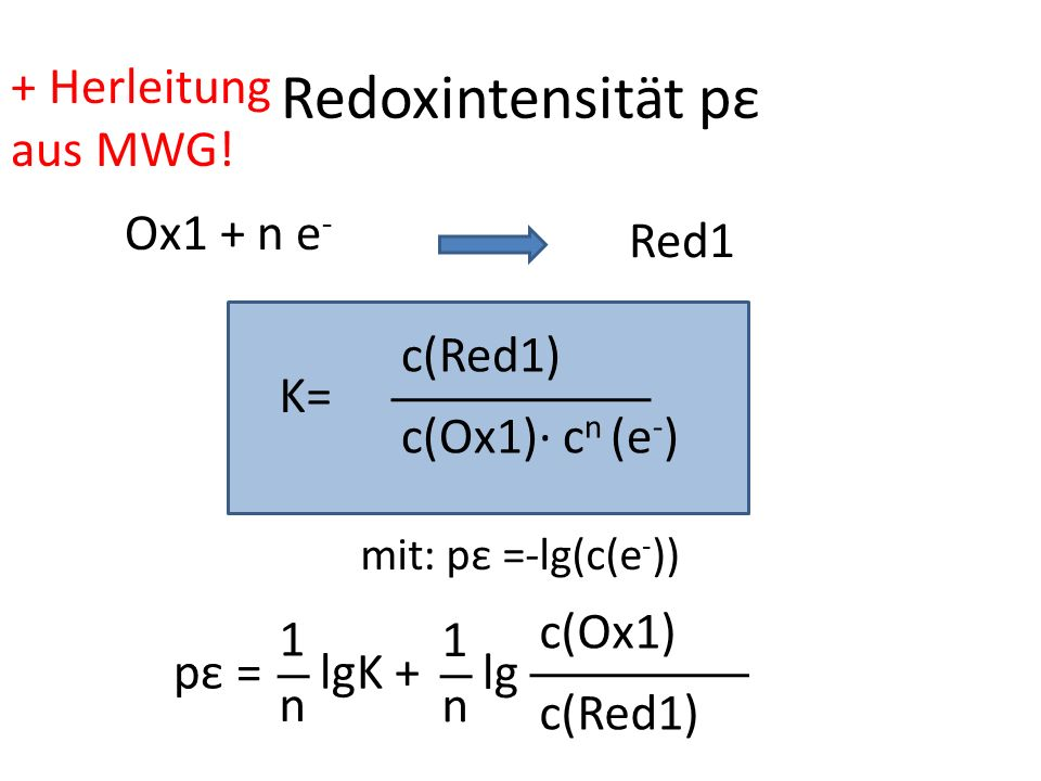 Redoxintensität pε + Herleitung aus MWG! Ox1 + n e- Red1 c(Red1) K=