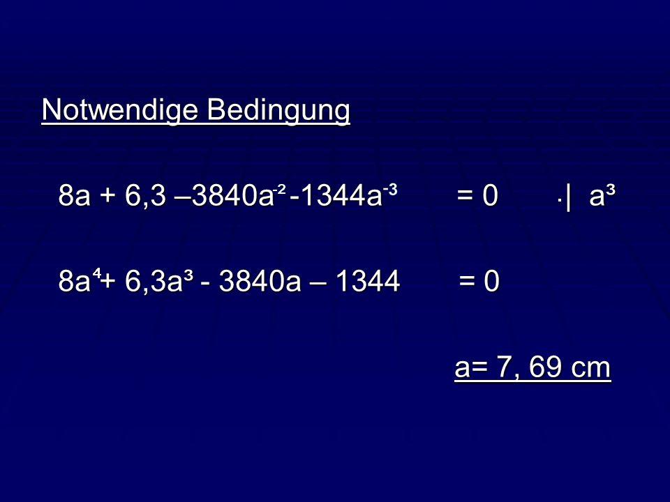 Notwendige Bedingung8a + 6,3 –3840a -1344a = 0   a³. 8a + 6,3a³ - 3840a – 1344 = 0.