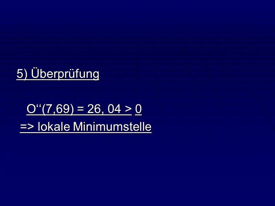 5) Überprüfung O''(7,69) = 26, 04 > 0 => lokale Minimumstelle