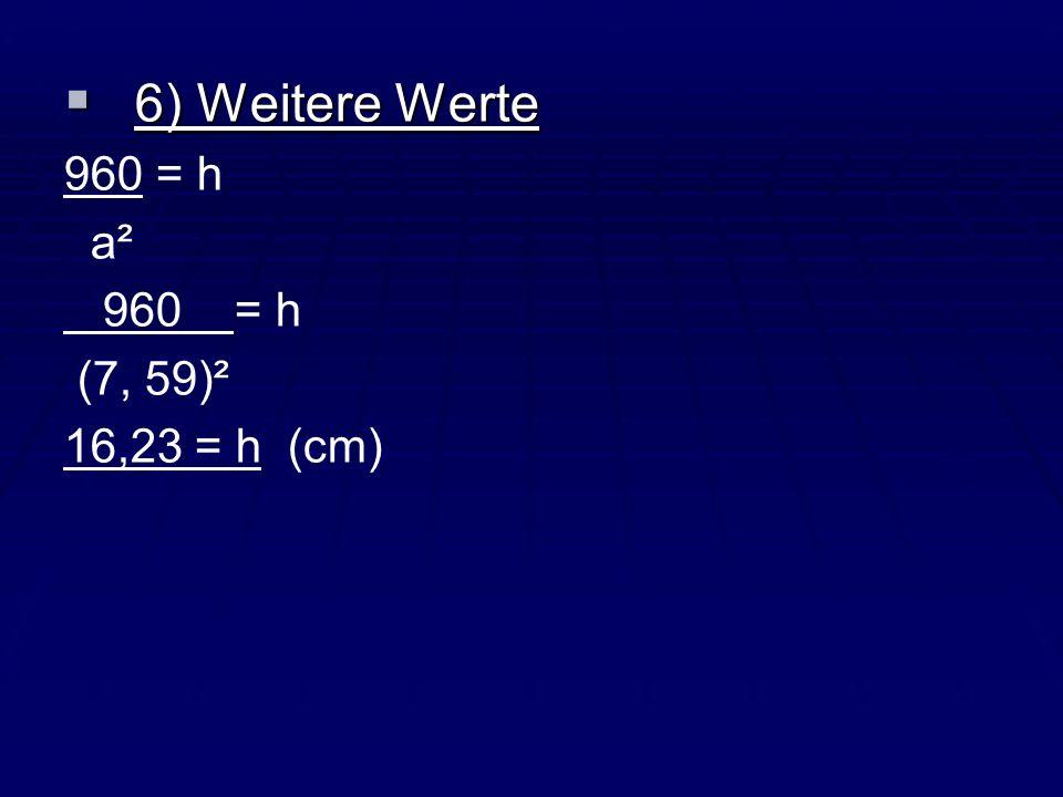 6) Weitere Werte 960 = h a² 960 = h (7, 59)² 16,23 = h (cm)