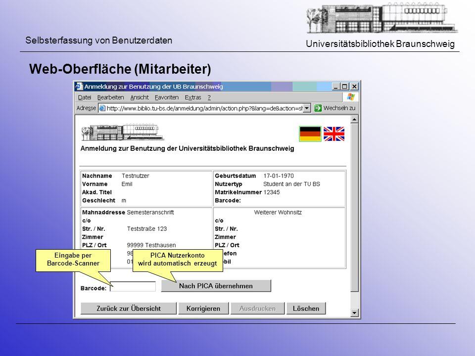Eingabe per Barcode-Scanner PICA Nutzerkonto wird automatisch erzeugt