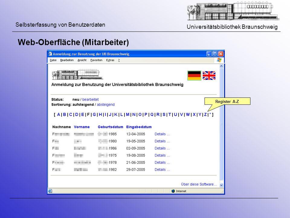 Web-Oberfläche (Mitarbeiter)