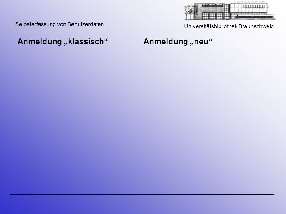 """Anmeldung """"klassisch Anmeldung """"neu"""