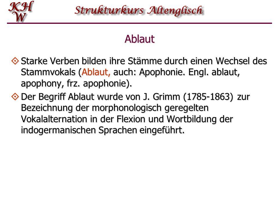 AblautStarke Verben bilden ihre Stämme durch einen Wechsel des Stammvokals (Ablaut, auch: Apophonie. Engl. ablaut, apophony, frz. apophonie).