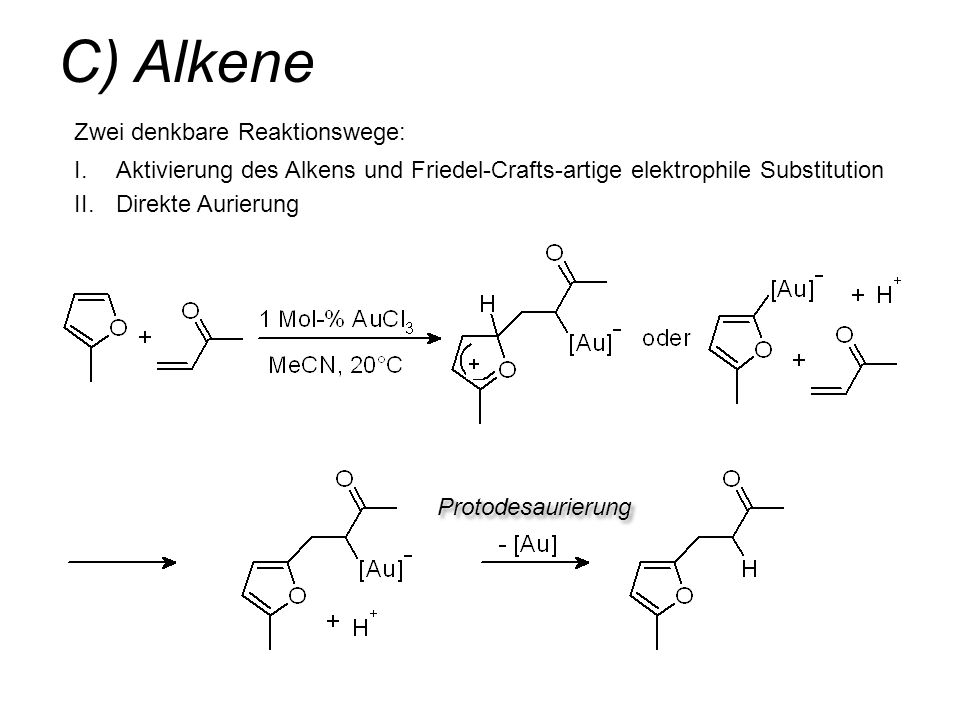 C) Alkene Zwei denkbare Reaktionswege:
