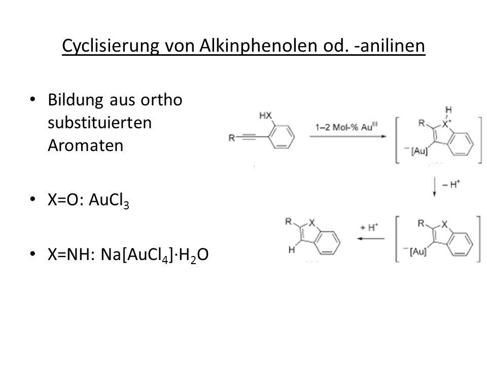 Cyclisierung von Alkinphenolen od. -anilinen