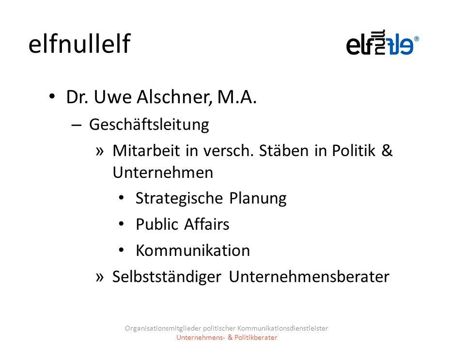 elfnullelf Dr. Uwe Alschner, M.A. Geschäftsleitung