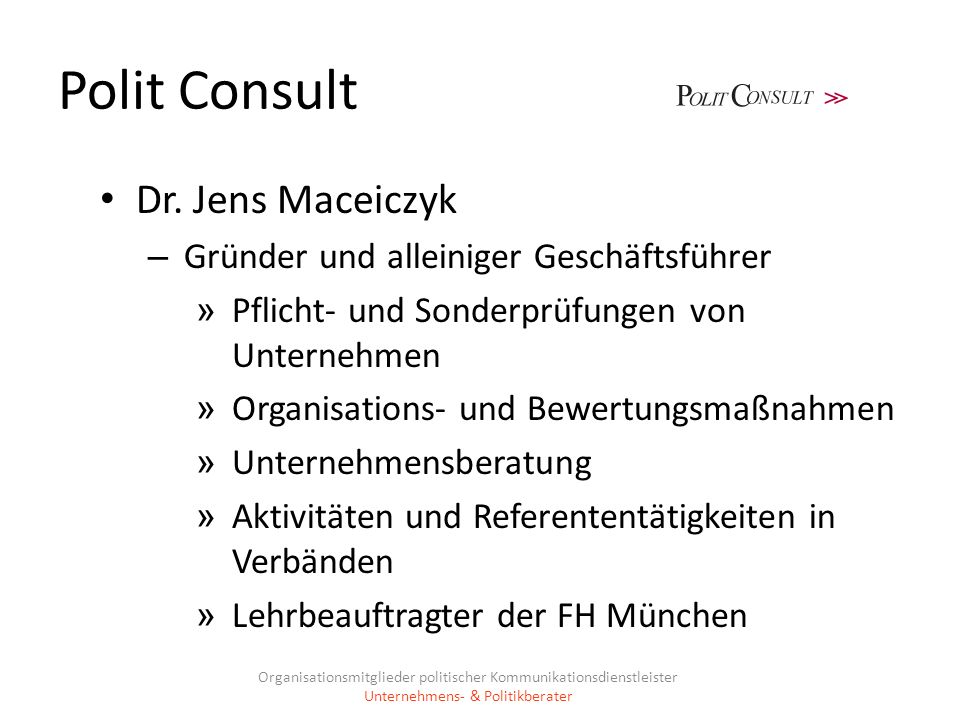 Polit Consult Dr. Jens Maceiczyk