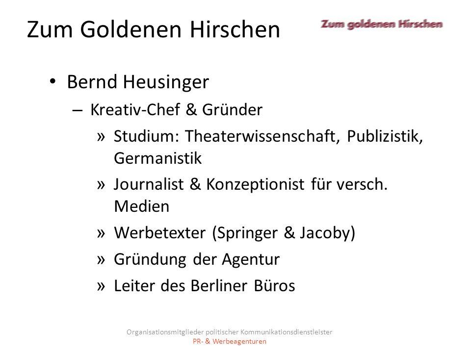 Zum Goldenen Hirschen Bernd Heusinger Kreativ-Chef & Gründer