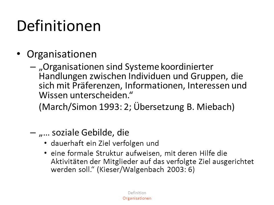 Definitionen Organisationen