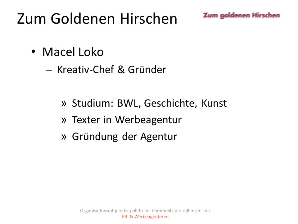 Zum Goldenen Hirschen Macel Loko Kreativ-Chef & Gründer