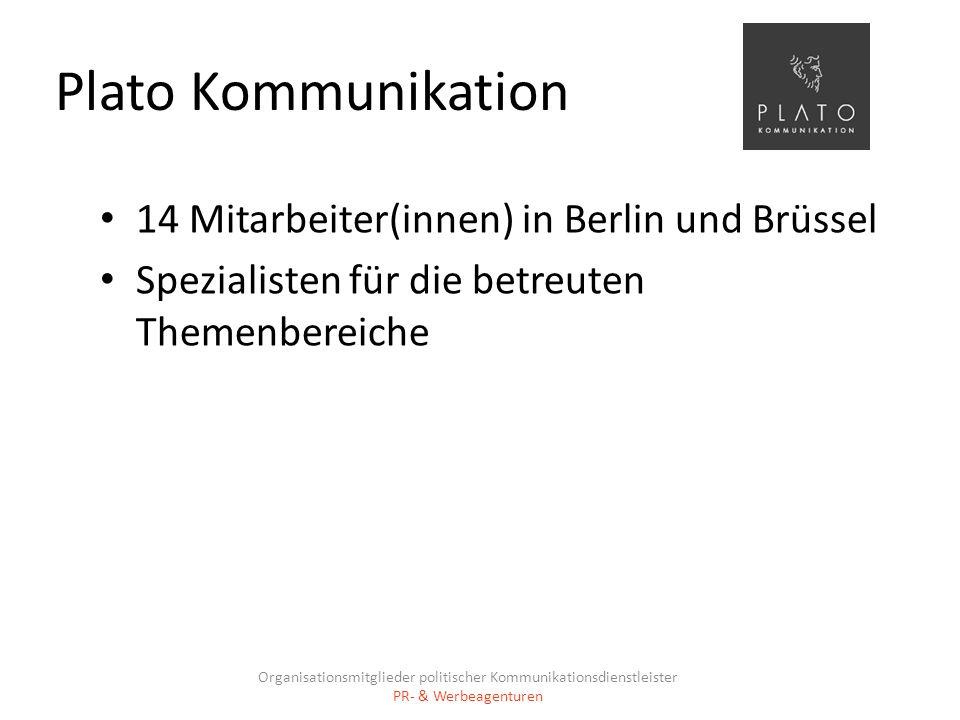 Plato Kommunikation 14 Mitarbeiter(innen) in Berlin und Brüssel