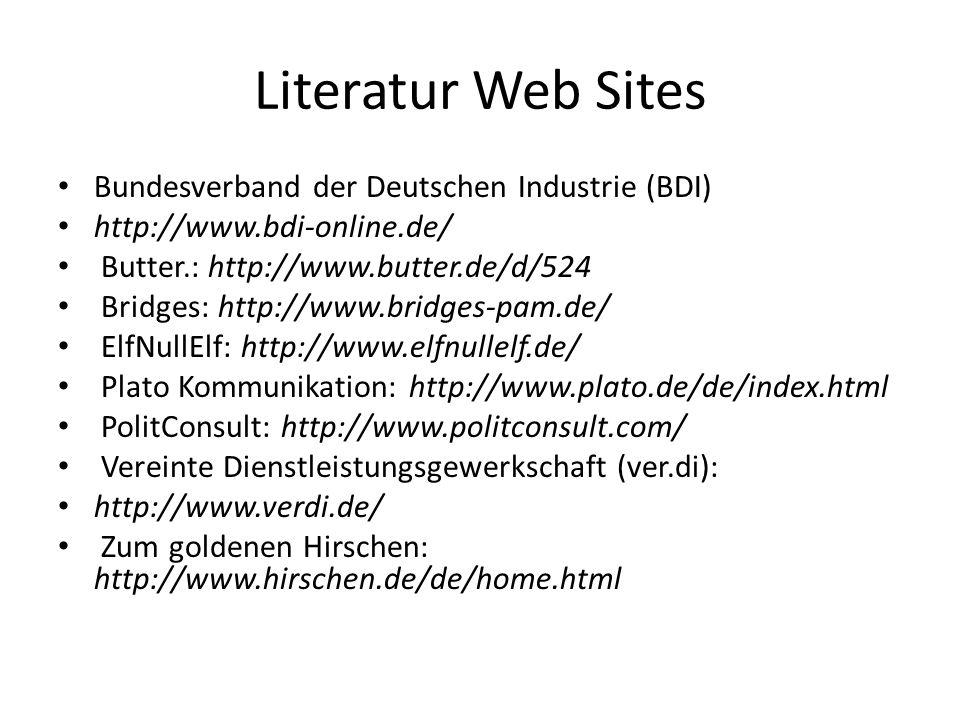 Literatur Web Sites Bundesverband der Deutschen Industrie (BDI)