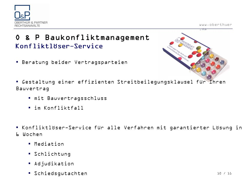 O & P Baukonfliktmanagement Konfliktlöser-Service