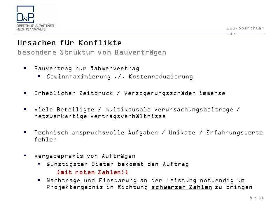 Ursachen für Konflikte besondere Struktur von Bauverträgen