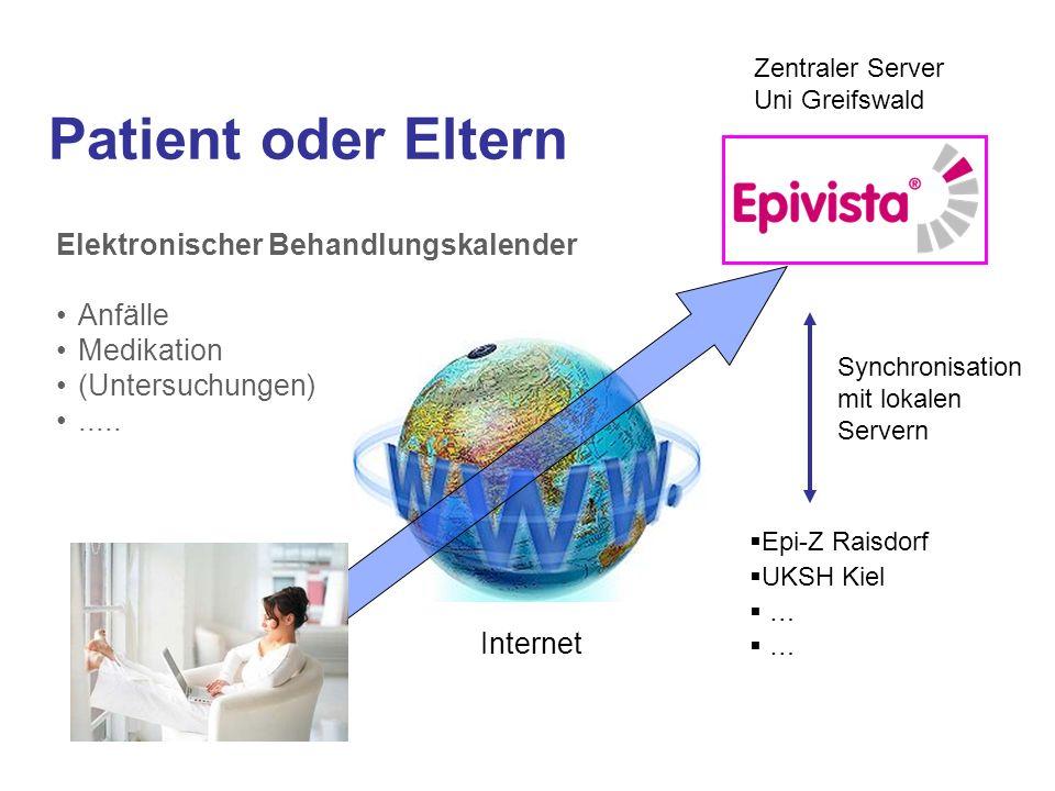 Patient oder Eltern Elektronischer Behandlungskalender Anfälle