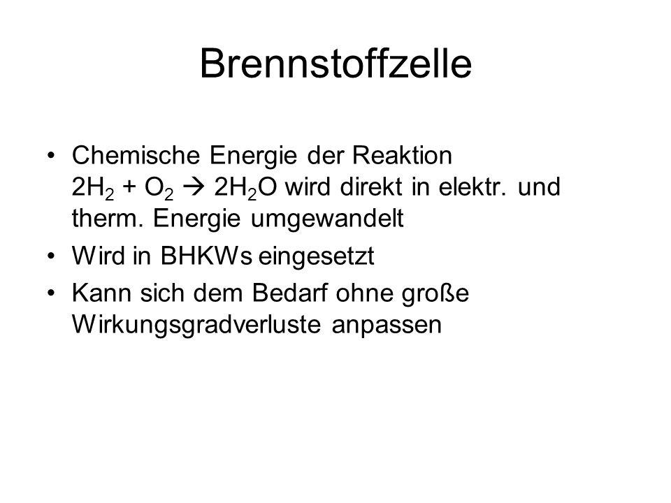 Brennstoffzelle Chemische Energie der Reaktion 2H2 + O2  2H2O wird direkt in elektr. und therm. Energie umgewandelt.