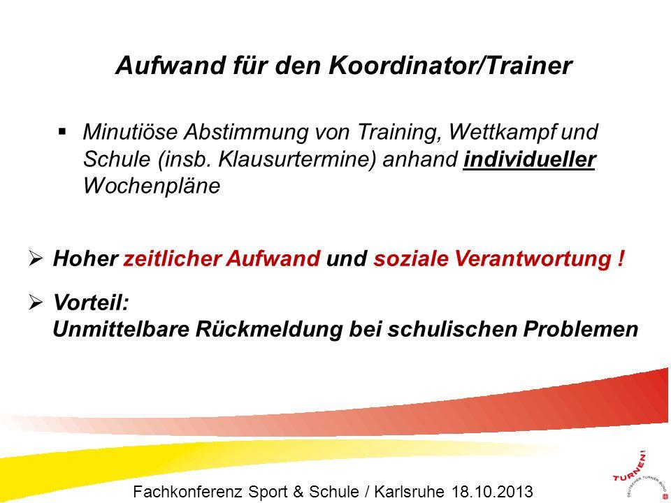 Aufwand für den Koordinator/Trainer