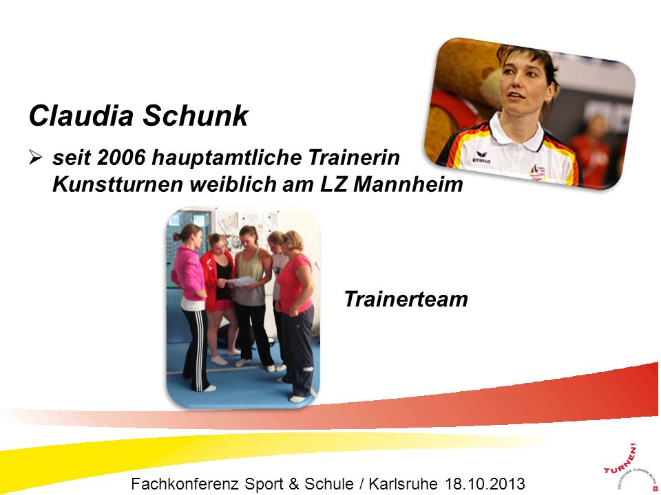Claudia Schunk seit 2006 hauptamtliche Trainerin Kunstturnen weiblich am LZ Mannheim. Trainerteam.