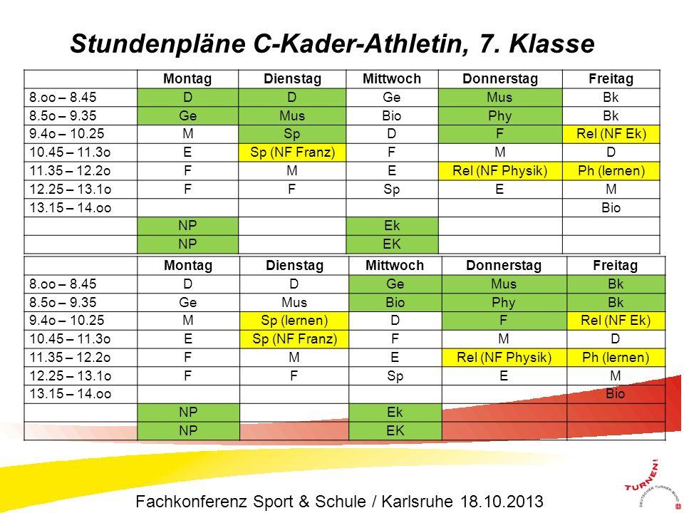 Stundenpläne C-Kader-Athletin, 7. Klasse