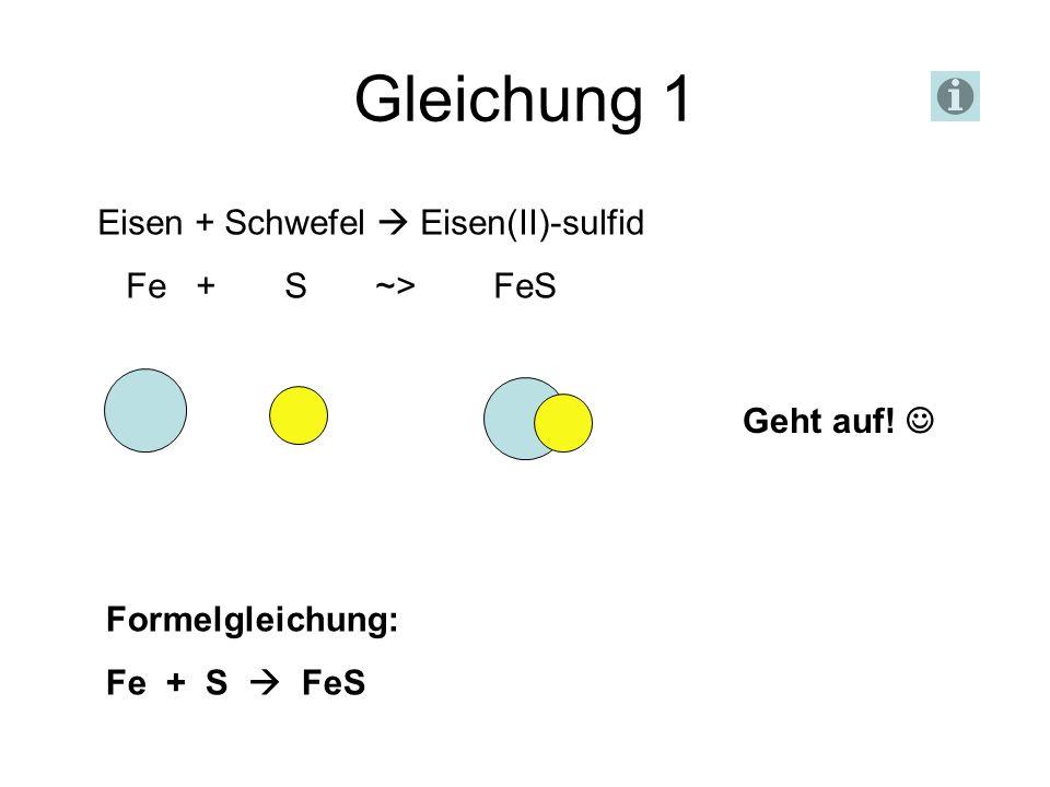 Gleichung 1 Eisen + Schwefel  Eisen(II)-sulfid Fe + S ~> FeS