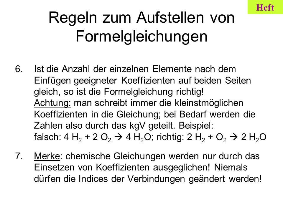 Regeln zum Aufstellen von Formelgleichungen