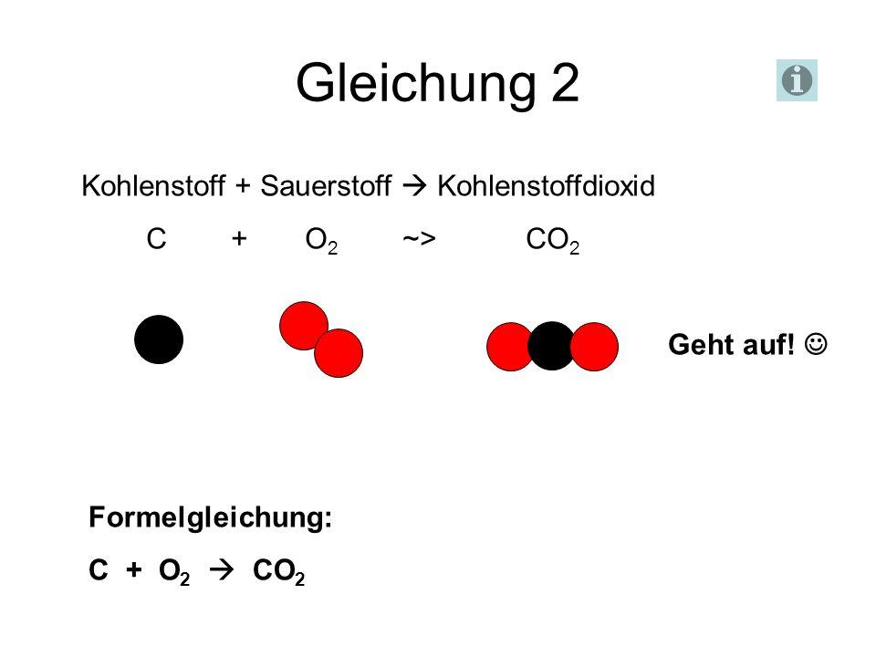 Gleichung 2 Kohlenstoff + Sauerstoff  Kohlenstoffdioxid