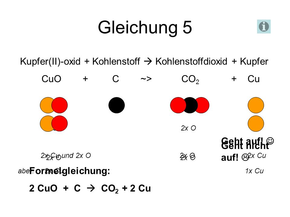 Gleichung 5 Kupfer(II)-oxid + Kohlenstoff  Kohlenstoffdioxid + Kupfer